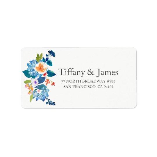 Bleu élégant et étiquette de adresse floral de