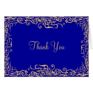 Bleu élégant et royal, carte de remerciements flor