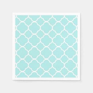 Bleu élégant moderne géométrique de Quatrefoil Serviettes En Papier