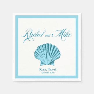Bleu en bon état du mariage de plage de coquillage serviettes jetables