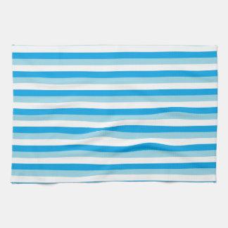 Bleu en pastel, blanc et rayures de turquoise serviettes éponge