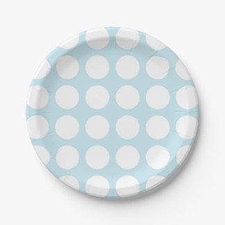 Bleu en pastel de pois blanc assiettes en papier