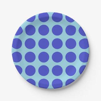 Bleu en pastel de pois bleu assiettes en papier