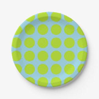 Bleu en pastel de pois de vert de chaux assiettes en papier