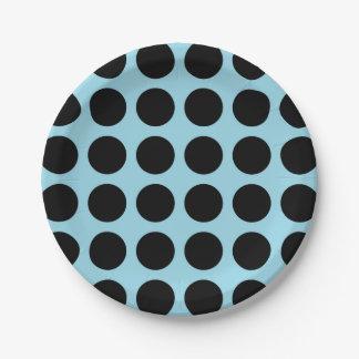 Bleu en pastel de pois noir assiettes en papier