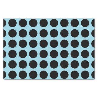 Bleu en pastel de pois noir papier mousseline