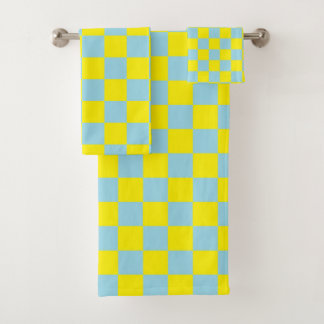Bleu en pastel et jaune Checkered