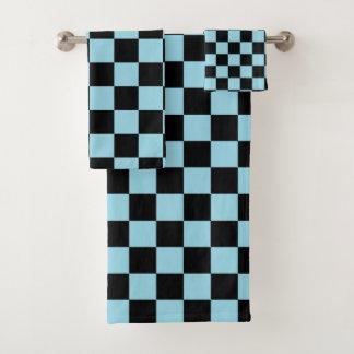 Bleu en pastel et noir Checkered
