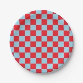 Bleu en pastel et rouge Checkered Assiettes En Papier