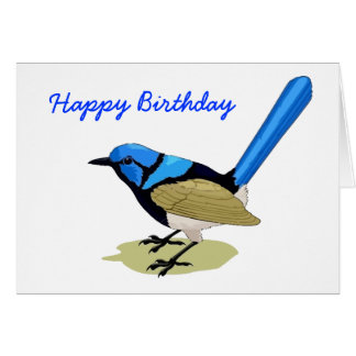 Bleu et anniversaire élevé d'oiseau de queue de carte de vœux