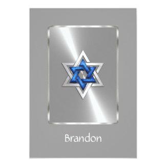 Bleu et argent d'étoile de David de Mitzvah de Carton D'invitation 12,7 Cm X 17,78 Cm