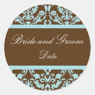 Bleu et autocollant élégants de faveur de mariage