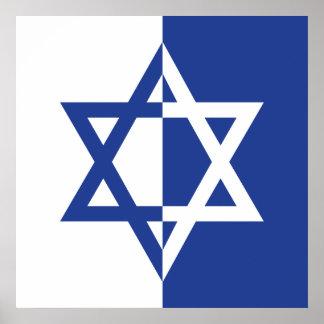 Bleu et blanc de Mitzvah de barre d étoile de Davi Posters
