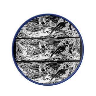 Bleu et blanc de plat de porcelaine de sirène assiettes en porcelaine