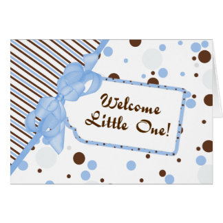 Bleu et carte bienvenue de Congrats de bébé de