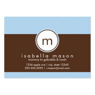 Bleu et carte de maman de Brown Polkadot Carte De Visite Grand Format