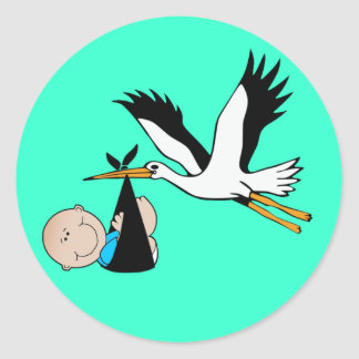 Bleu et cigogne de bébé sticker rond