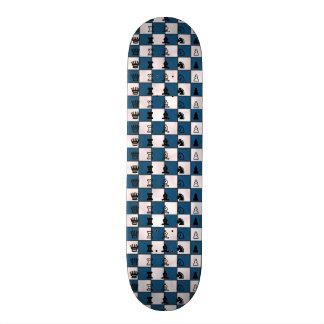 Bleu et échiquier et morceaux marbrés par blanc skateboards cutomisables