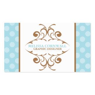 Bleu et Flourish de Brown Carte De Visite Standard