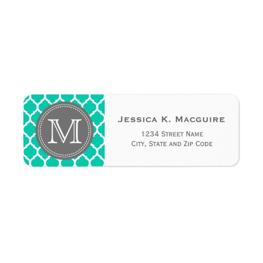 Bleu et gris décorés d'un monogramme étiquette d'adresse retour