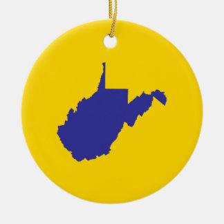 Bleu et or de la Virginie Occidentale Ornement Rond En Céramique