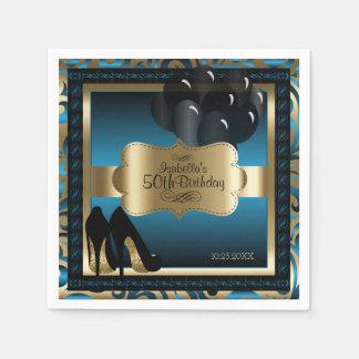 Bleu et or métalliques - cinquantième texte de serviettes jetables
