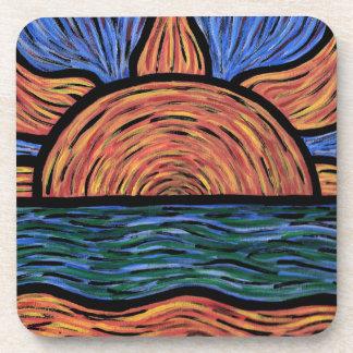 Bleu et orange abstraits modernes de lever de dessous-de-verre