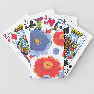 Bleu et papier peint de Red_Floral Jeu De Cartes