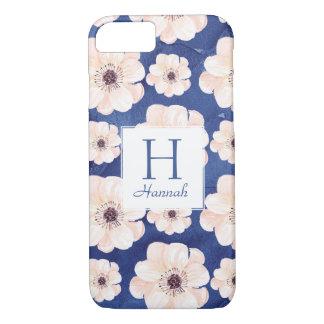 Bleu et pêche floraux de monogramme de motif coque iPhone 8/7