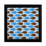 Bleu et poissons de Brown Boîtes À Bijoux