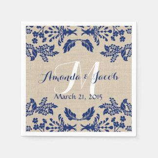 Bleu et toile de jute de damassé de jardin de pays serviettes en papier