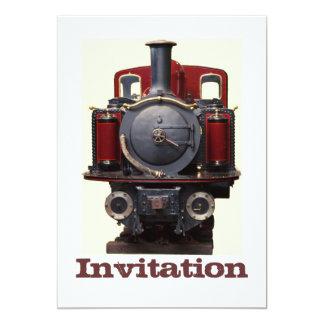 Bleu et train rouge carton d'invitation  12,7 cm x 17,78 cm