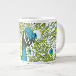 Bleu et vert de paon grande tasse
