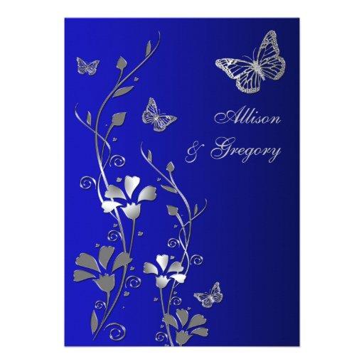 Bleu, faire-part de mariage floral de papillons d'