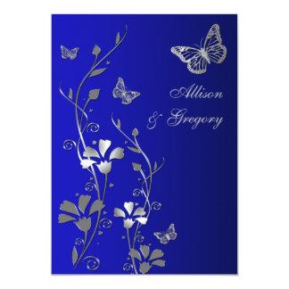 Bleu, faire-part de mariage floral de papillons