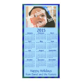 Bleu fait sur commande de carte de vacances de photocarte customisée