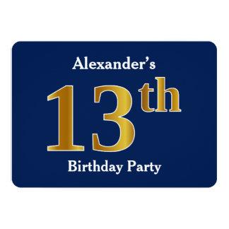 Bleu, fête d'anniversaire d'or de Faux 13ème + Carton D'invitation 12,7 Cm X 17,78 Cm