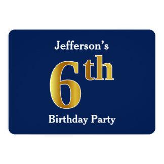 Bleu, fête d'anniversaire d'or de Faux 6ème + Noms Carton D'invitation 12,7 Cm X 17,78 Cm