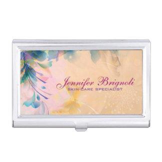 Bleu floral abstrait et beige d'arrière - plan étui pour cartes de visite