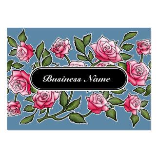 Bleu floral de carré élégant de graphique carte de visite grand format