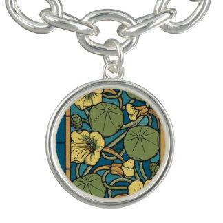 Bleu floral de Nouveau d'art Bracelet Avec Breloques