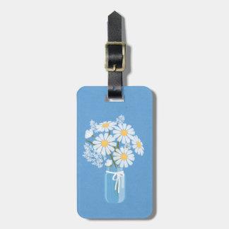 Bleu floral élégant de pot de maçon de marguerites étiquettes bagages