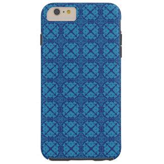 Bleu floral géométrique vintage sur le bleu coque iPhone 6 plus tough