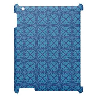 Bleu floral géométrique vintage sur le bleu coques pour iPad