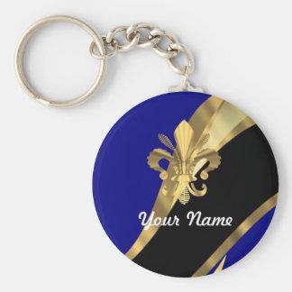Bleu-foncé et gold fleur de lys porte-clé