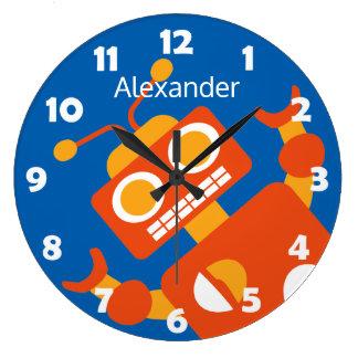 Bleu frais personnalisé par robot orange fou grande horloge ronde