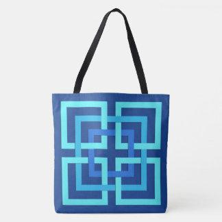 Bleu géométrique moderne de carrés, de cobalt et sac