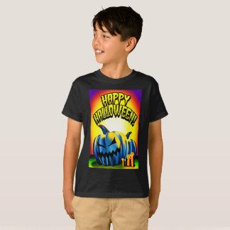 Bleu heureux Jack-o'-lantern de Haloween T-shirt