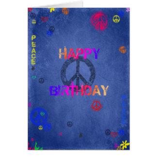 Bleu hippie de carte d'anniversaire de hippie