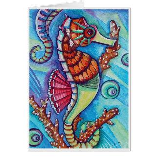 * bleu - hippocampe * - carte vierge